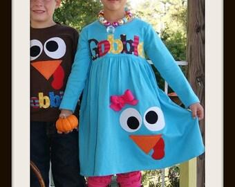 Toddler Thanksgiving Dress Goofy Gobble Face - Infant Toddler Youth Girl