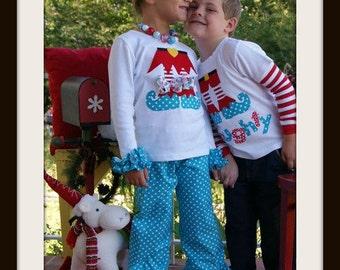 Elf Feet Shirt for Girl or Boy / Sibling Christmas Shirt, Infant, Toddler Youth Children Sizes / Elf Feet Applique