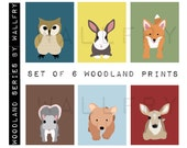 Woodland nursery art for children. Forest Friends owl baby nursery decor owl & fox. SET OF 6 woodland Nursery prints for kids. Kids decor.