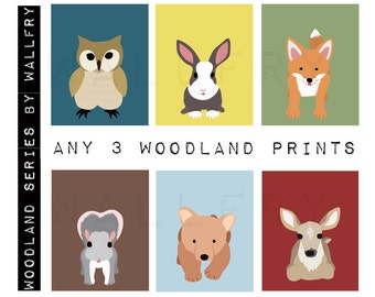 Forest nursery décor. Woodland prints for kids.  Nursery wall art for children animal art. SET of ANY 3 Woodland prints by WallFry
