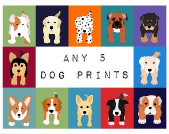 Dog Prints. Dog nursery art prints. SET OF ANY 5 puppy pictures from paintings for kids, baby and child room decor by WallFry