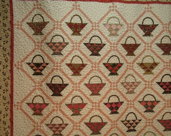 Scrappy Baskets Quilt in Soft Pinks, Reds and Browns Use Code 30PercentOffSale to reduce listed price by 30%!