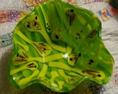 Sprout dish--hand made fused glass centerpiece bowl