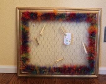 Chicken wire picture frame memo board, rainbow memo board