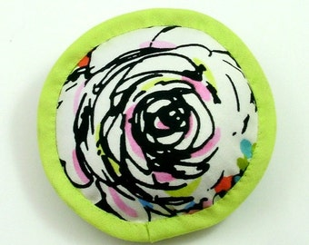 Catnip Pillow Toys, Catnip Pillows, Abstract Flower Pillow, Lime Green and Pink Cat Pillow, Abstract Flowers, Scribble Flower,  ELEPHANT EYE