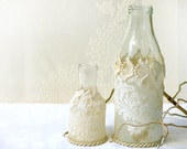 Pair Crochet Lace vases,  Personalized gift ,  Holiday decor, Upcycled decor, Antique lace bottles, Decorated bottles