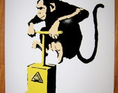Banksy Canvas (READY to  HANG) - Monkey TNT - Multiple Canvas Sizes