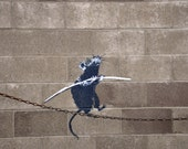 Banksy Canvas (READY TO HANG) - Tightrope Rat - Multiple Canvas Sizes