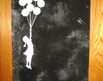 Banksy Canvas (READY TO HANG) - Balloons Black (Pick any Color)  - Multiple Canvas Sizes
