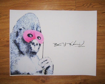 Banksy Canvas (READY TO HANG) - Gorilla Signature - Multiple Canvas Sizes