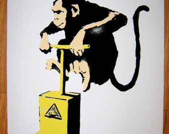 Banksy Canvas (READY to  HANG) - Monkey TNT - Multiple Canvas Sizes