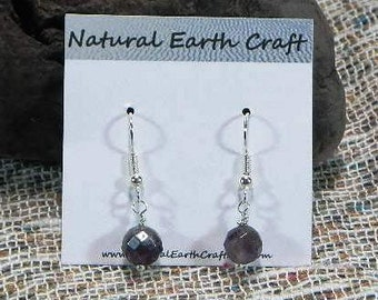 Small purple faceted amethyst earrings semiprecious stone jewelry February birthstone  packaged in a gift bag 2673 A B