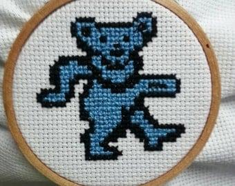 "Grateful Dead Dancing Bear 3"" hoop cross stitch ornament or wall art"