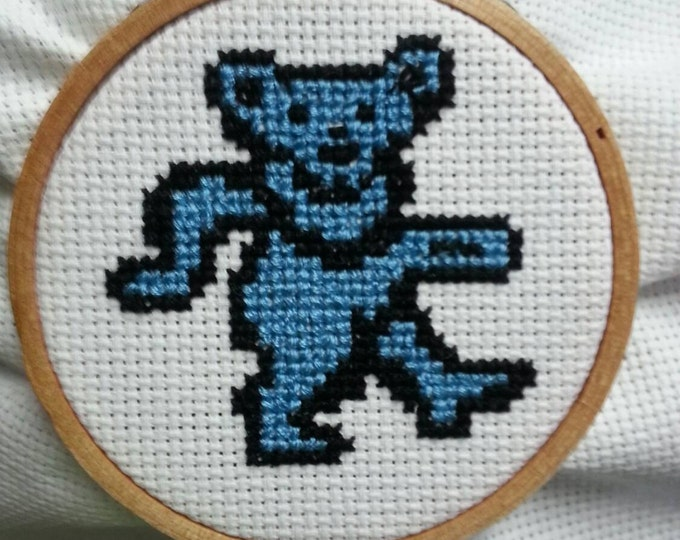 "Grateful Dead Dancing Bear 3"" hoop cross stitch ornament or wall art"