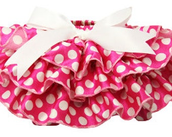 Ruffled Polka Dot Satin Bloomers - Hot Pink & White