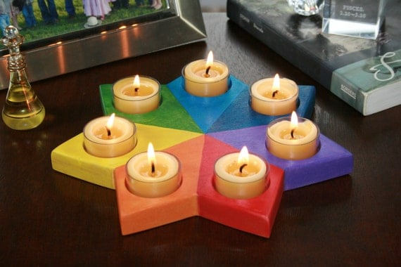 Painted Solid Sun Candle Holder