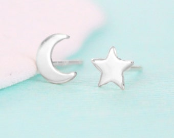 Moon and Star Earrings - Sterling Silver - Stud Earrings