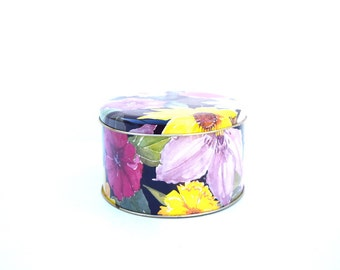 Tin box storage container England Easter egg basket Mothers Day treats floral design