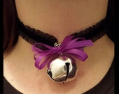 Kitty Cat Lolita Collar Necklace Black Stretch Velvet Ruffle with Bell and Bow Neko Cosplay