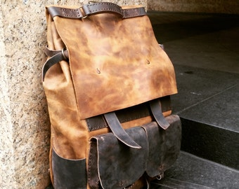 Oversized backpack, Weekend holdall, Leather rucksack, Rugged travel backpack, Brown leather holdall, Weekend backpack, Large weekender
