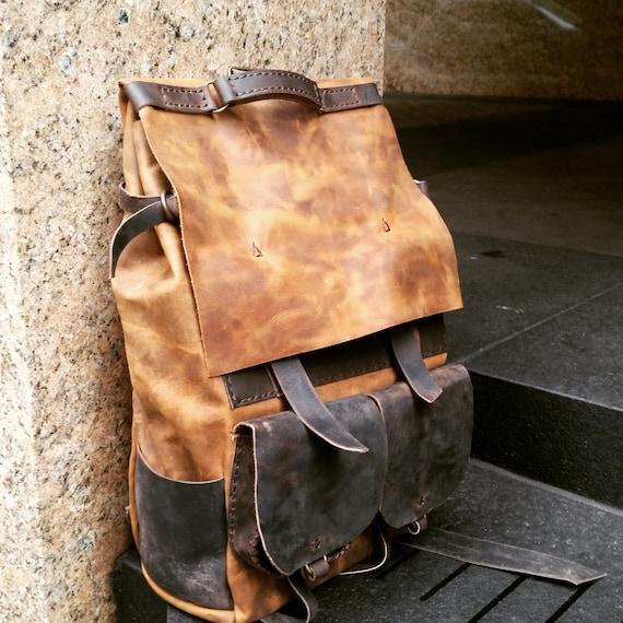 Oversized backpack Weekend holdall Leather rucksack Rugged