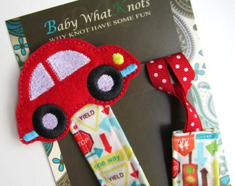 DeluXe Red Car Pacifier Clip, Fabric Pacifier Clip, Vehicle Pacifier Clip,  Pacifier Holder, pcfab01