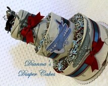 Baby Diaper Cake Vintage Airplanes 3 Styles Boys Centerpiece Gift