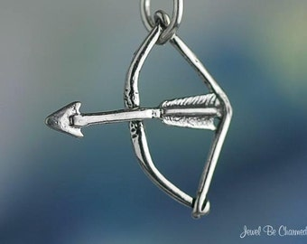 Sterling Silver Bow and Arrow Charm Archery Cupid Valentine Solid .925