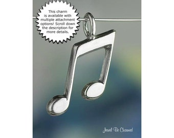 Sterling Silver Music Note CHARM or PENDANT Eighth Notes for Musician