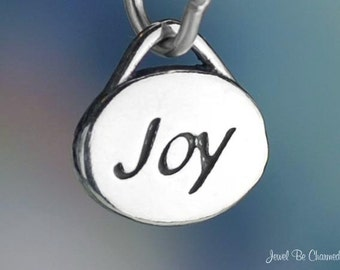 Sterling Silver Joy Charm Small Oval Joyful Theme or Name Solid .925