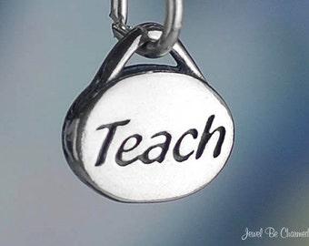 Teacher Charm Sterling Silver Teach Oval for Teachers Small Solid .925