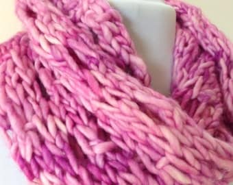 Infinity Scarf Cowl Bulky Knit Love Me Tender Pink