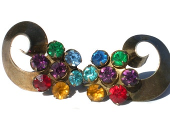 Vintage Jewelry Screw Earrings with Jewel Tone Colorful Rhinestone Flower Bright Stones on Sterling Silver 925