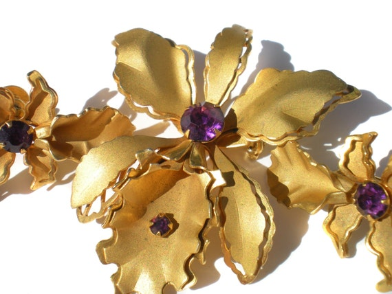 Bugbee niles demi parure purple rhinestone orchid flower for Bugbee and niles jewelry