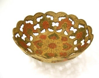 Brass bowl, cut and etched gold tone painted medallion swirl floral foliage vintage pedestal dish serve chocolates, gift container idea