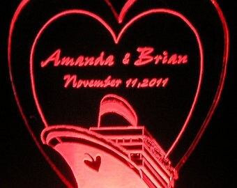 Cruise Themed Wedding Cake Topper - Personalized with ship's name - Light Extra