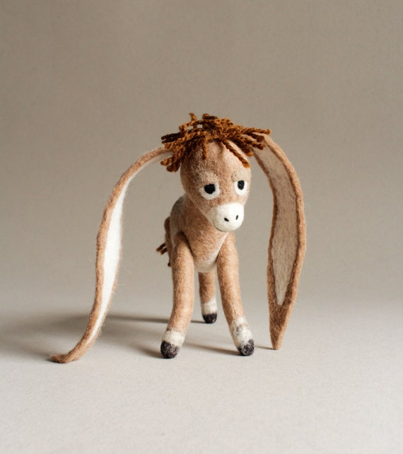 Nestor - The Long-Eared Christmas Donkey. Art Toy. Standing donkey, Christmas gift, Felted Toy. beige brown tan. MADE TO ORDER