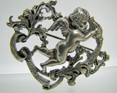 Italian Vintage Large Sterling Silver Aquarius Zodiac Brooch Pin. Cherub Water Urn And Acanthus Leaf Classical Design. Signed CINI c1950