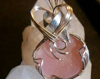 Gorgeous  one of a kind, Light Pink Druzy Pendant