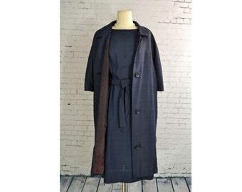 1960's Vintage Dress Set // 60s Blue Dress with Matching Coat // Sheath Dress w/ Evening Coat