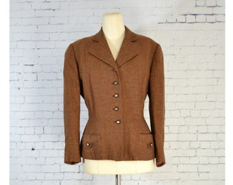 Vintage 1940s/1950s Blazer // Nip Waist Fit and Flare Brown Wool Blazer from City of Paris San Francisco