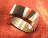 SALE - Silver Ring with Multi Inlay Size 7.5 only - Unique Ring Designs RGC-5