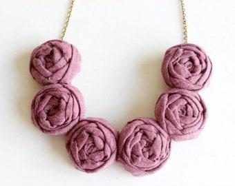 Cranberry necklace, Cranberry fabric flower necklace, Cranberry statement necklace