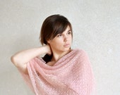 Pale Pink Scarf Linen Scarf  Lace Shawl Sheer Wrap Bridemaids Stole Knitted Gauzy Scarf