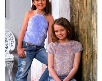Stylecraft Fantasia Child's Short Sleeve and Halter Neck Tops No. 8193 Knitting Pattern