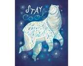 Polar Bear Art: Stay Cool, giclee illustration print in blues and whites