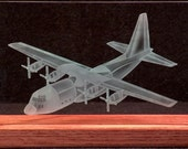 Carved Glass C-130 Airplane in Hand-Crafted Wooden Base