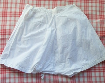Antique French Pure White Cotton Bloomers Shorts Knickers Pants