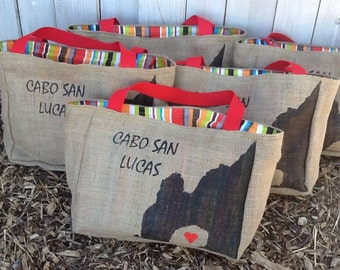 5+ Cabo San Lucas Arch - Mexico - Custom Destination Wedding Welcome Beach Tote Bags - Eco-Friendly and Handmade