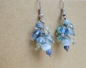 Ice Light Blue Dangle Winter Earrings